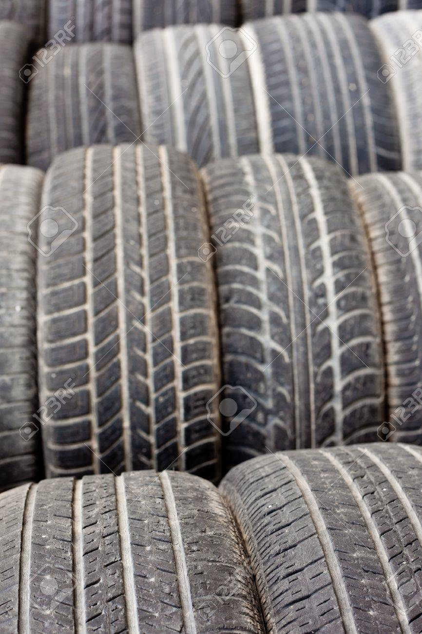 Background texture pattern of old tires for rubber recycling. Shallow DOF Stock Photo - 9360950