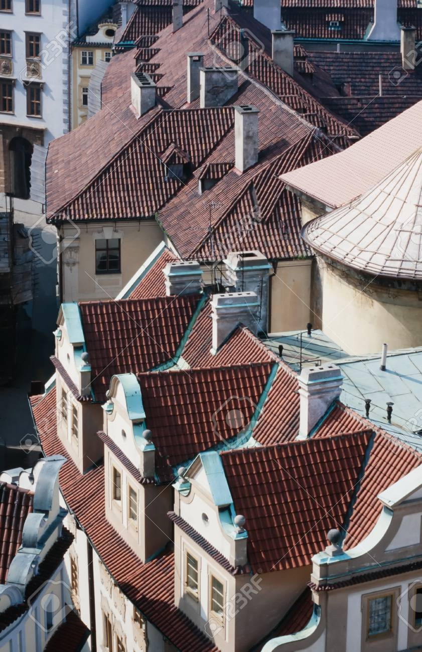 Overhead view looking down onto the tiled red rooftops of Prague, capital of Czechia, Europe Stock Photo - 13619664