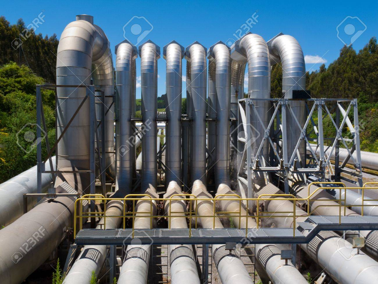 Background of a pipeline installation for distribution and supply