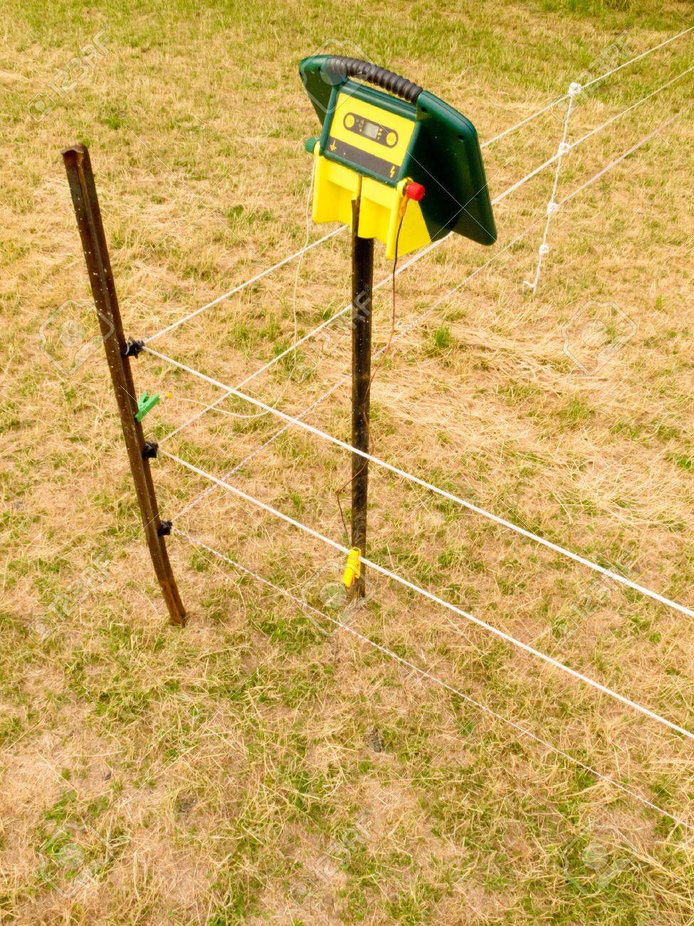 electric fence charger mounted on a pole providing the energy for electrical livestock fencing out on