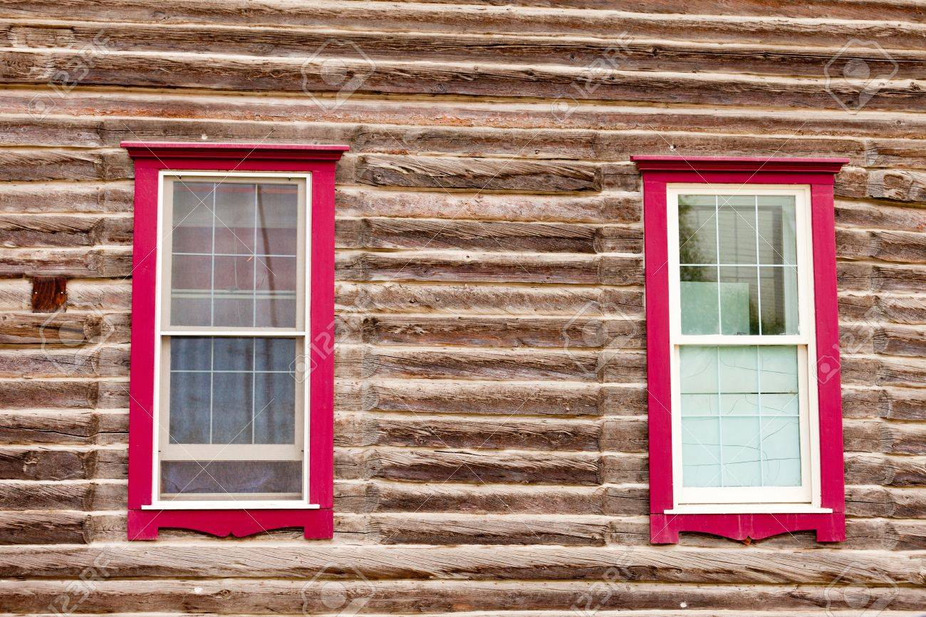 Architectural Background Of Sash Windows With Colourful Red Frames - Building architectural windows