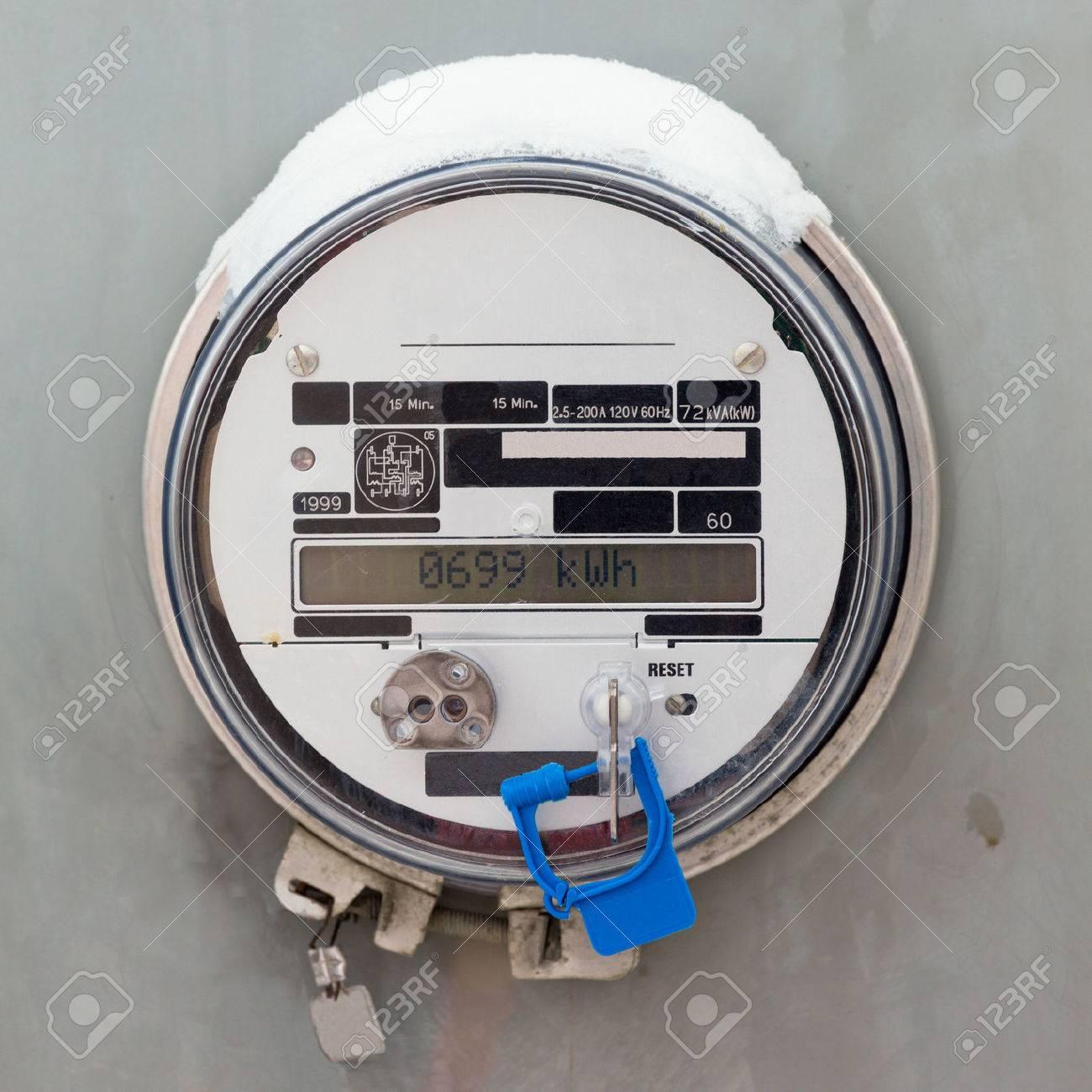 Modern smart grid residential digital power supply meter displays kilowatthours of consumed electric energy Stock Photo - 24443337