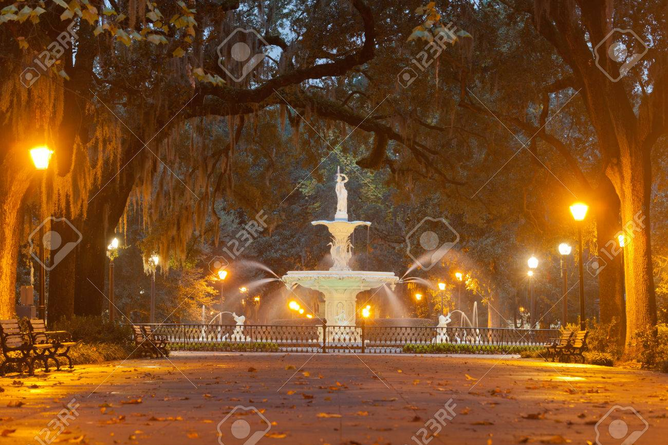 Forsyth Park Fountain famous landmark at night in Historic District of City of Savannah Georgia & Forsyth Park Fountain Famous Landmark At Night In Historic District ...