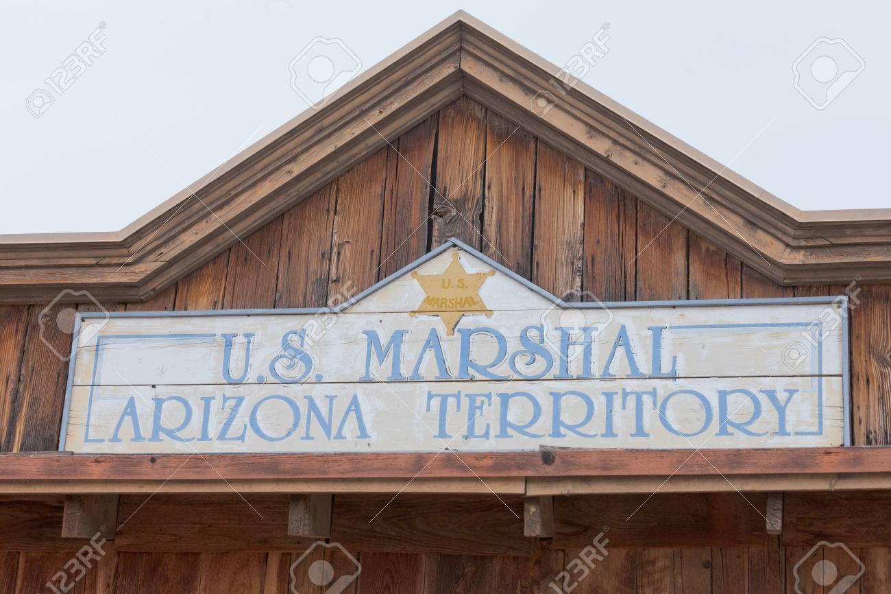 Historic US Marshal Arizona Territory Wooden Sign Wood House Front Facade  Of Vintage Building Near Tucson, Arizona, AZ, USA Stock Photo, Picture And  Royalty Free Image. Image 79083557.
