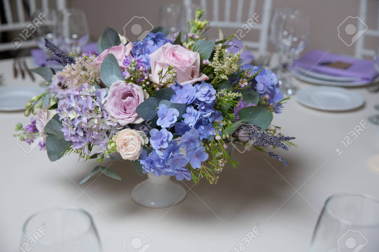 Wedding Flower Arrangement With Blue Violet Pink Flowers Stock Photo Picture And Royalty Free Image Image 73363369