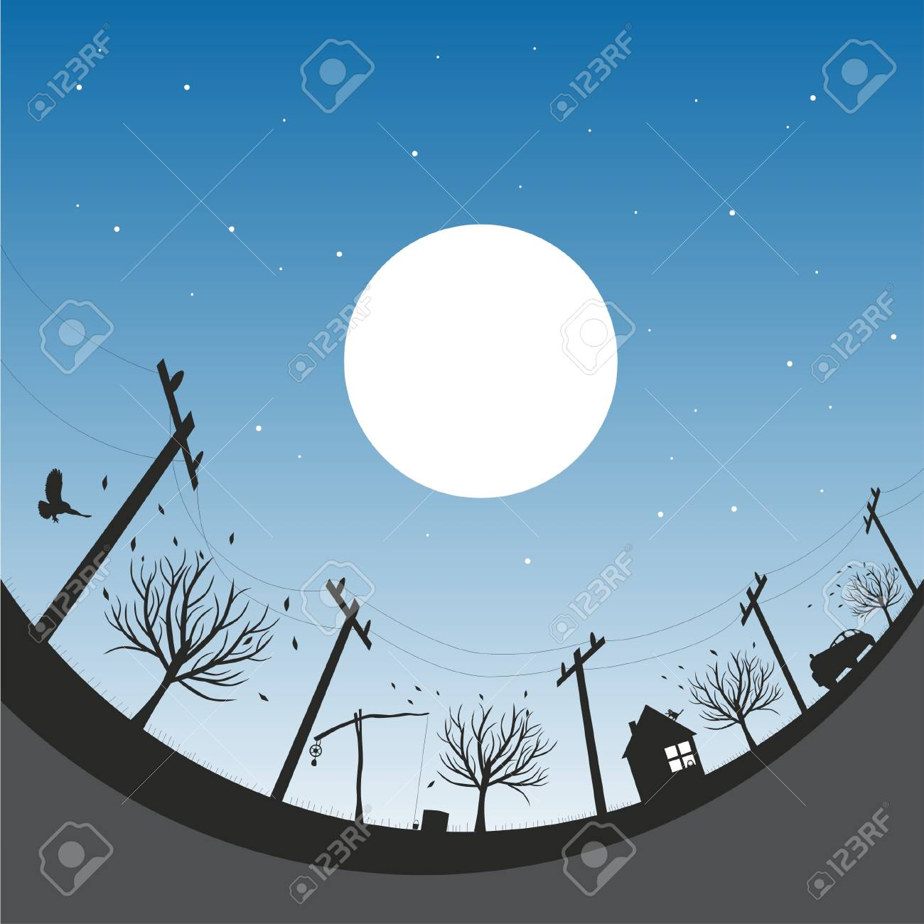 Vector illustration with autumn night sky Stock Vector - 4243208