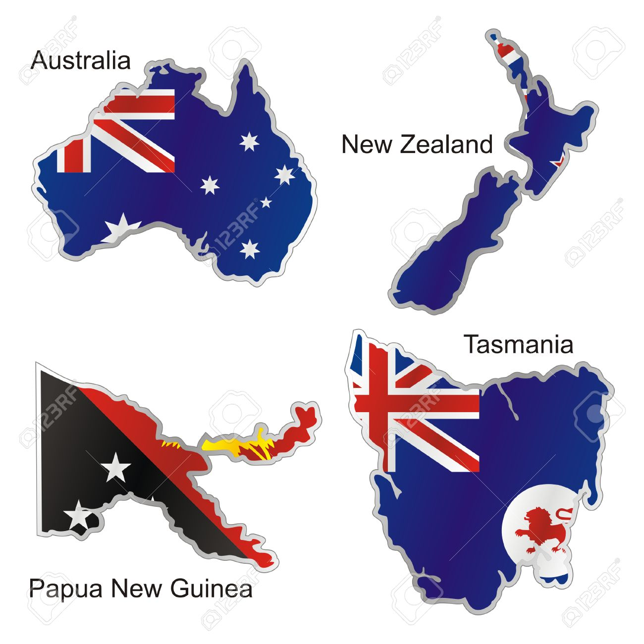 Isolated Oceanian Flags In Map Shape Royalty Free Cliparts Vectors
