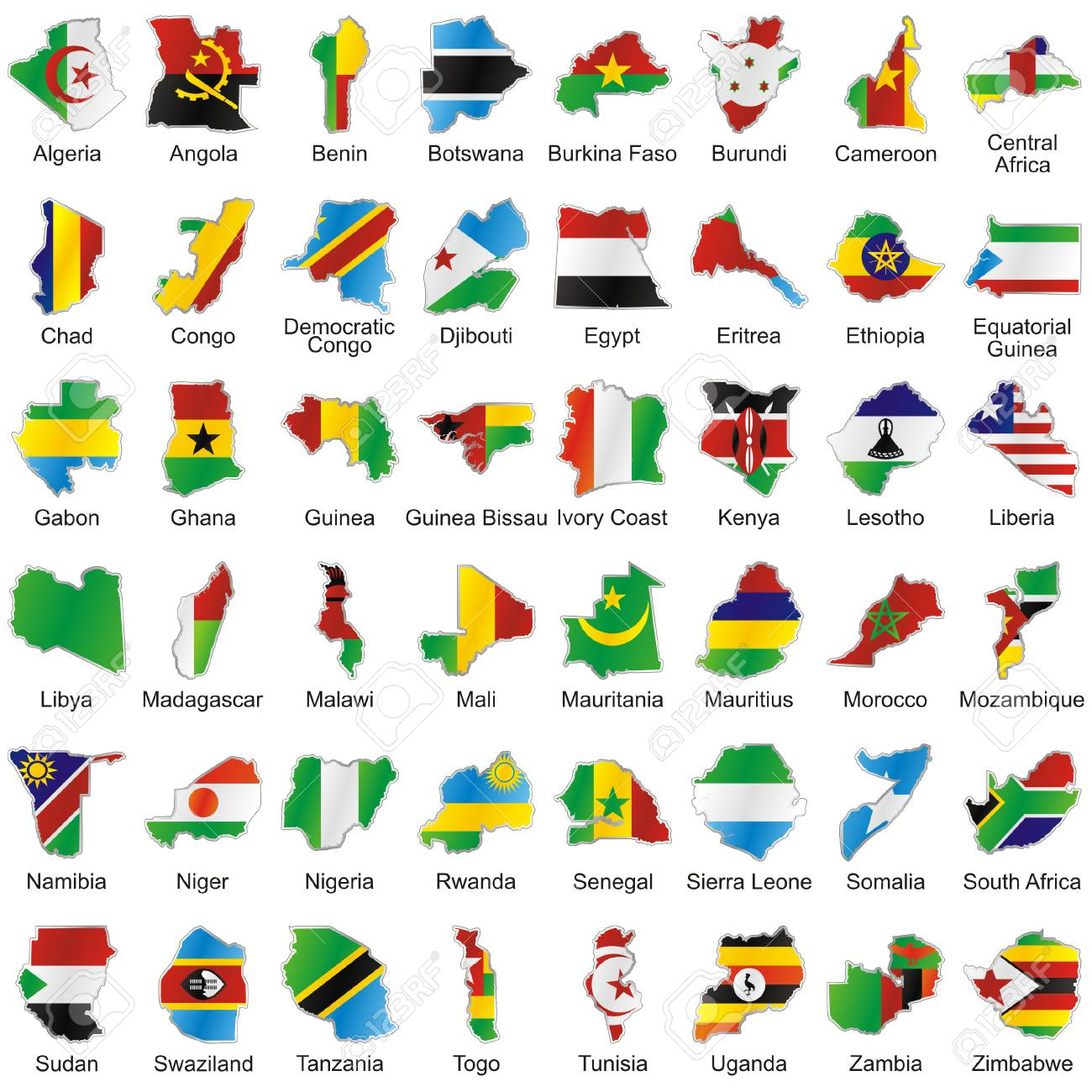 Map Of Africa With Flags.Isolated Vector African Flags In Map Shape Royalty Free Cliparts