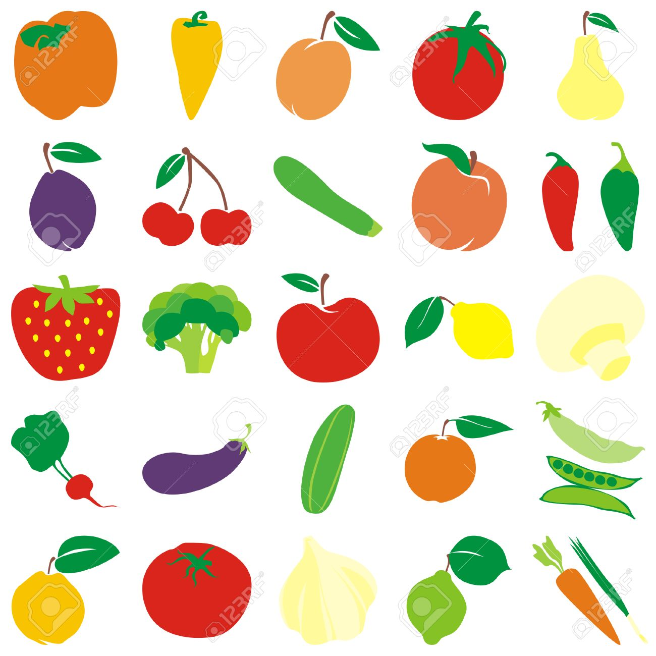 fully editable vector fruits and vegetables royalty free cliparts
