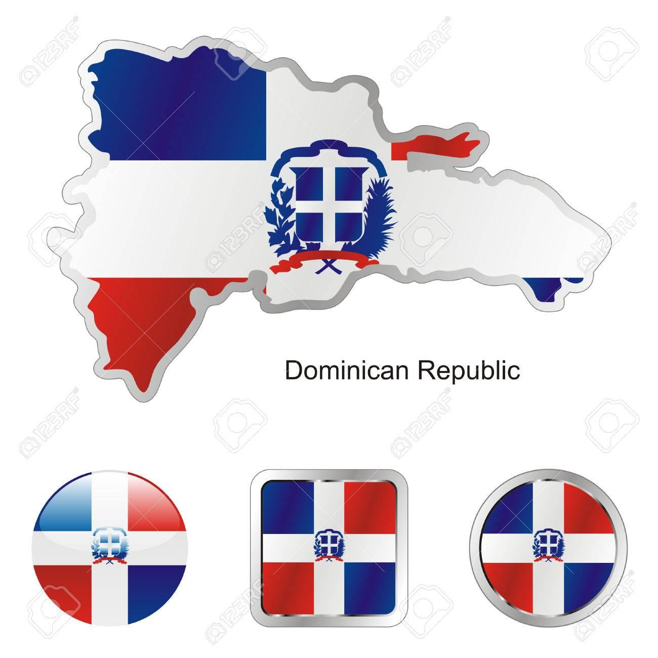 Vollständig Bearbeitbare Flagge Dominikanische Republik In Karte Und