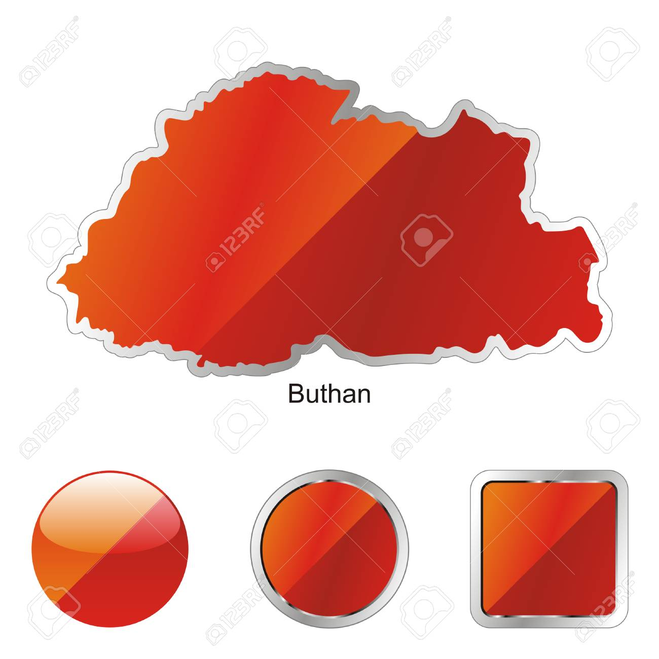 fully editable flag of buthan in map and internet buttons shape Stock Vector - 6255655