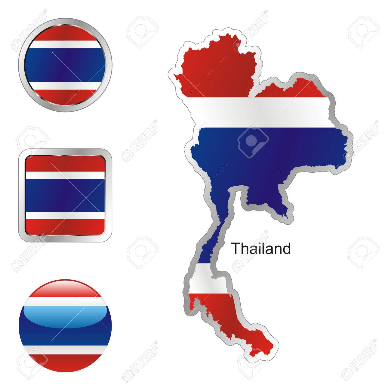 fully editable flag of thailand in map and internet buttons shape Stock Vector - 6255816