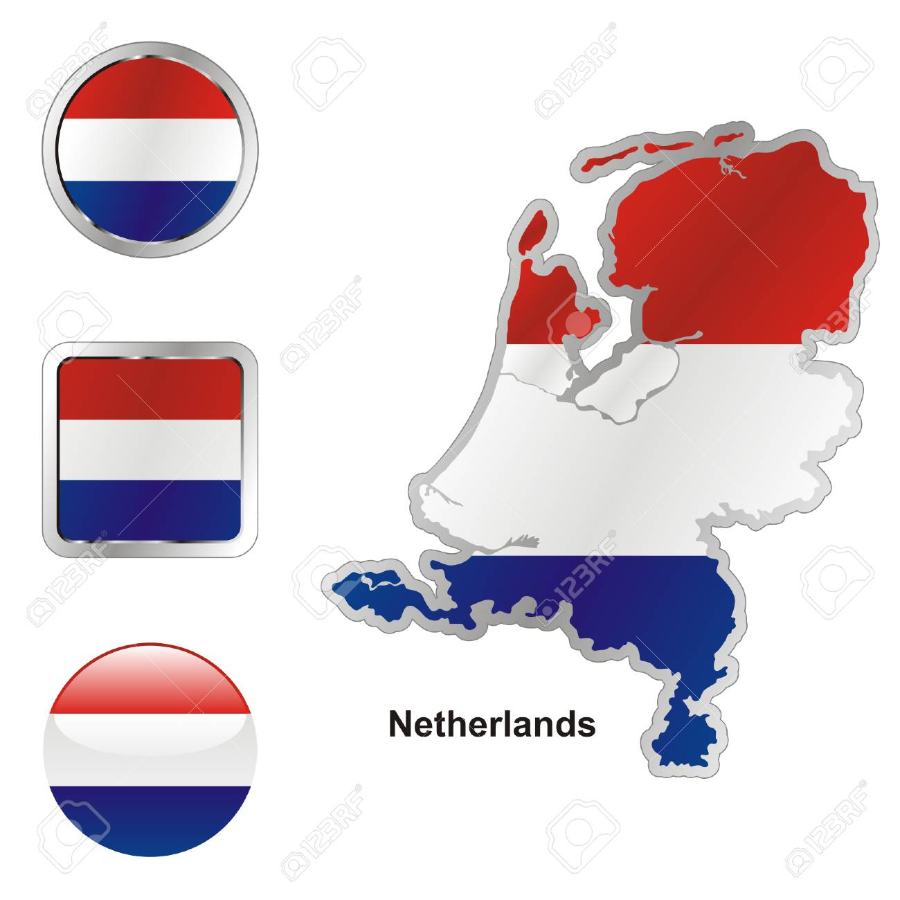 fully editable flag of netherlands in map and web buttons shapes Stock Vector - 6256062