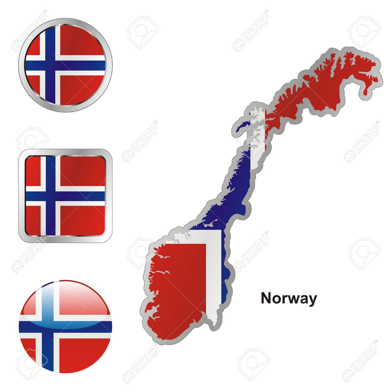 Fully Editable Flag Of Norway In Map And Web Buttons Shapes - Norway map and flag