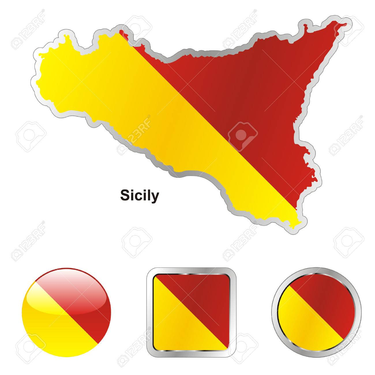 fully editable flag of sicily in map and web buttons shapes Stock Vector - 6255873