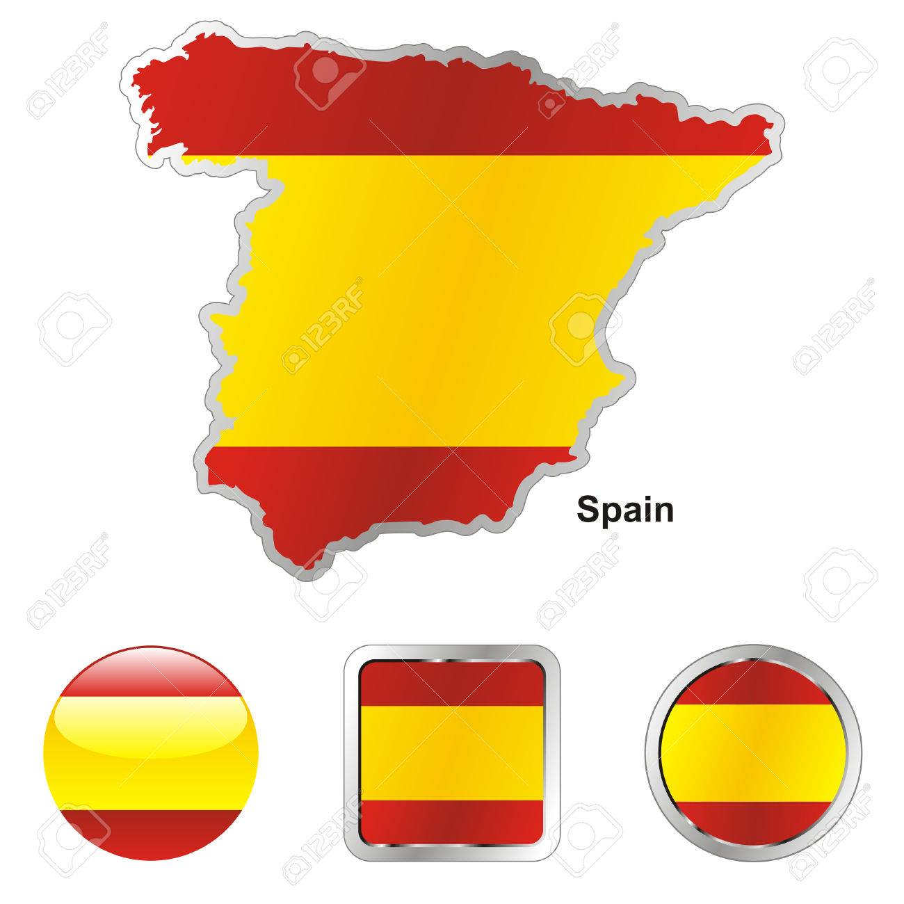 fully editable flag of spain in map and web buttons shapes Stock Vector - 6255923