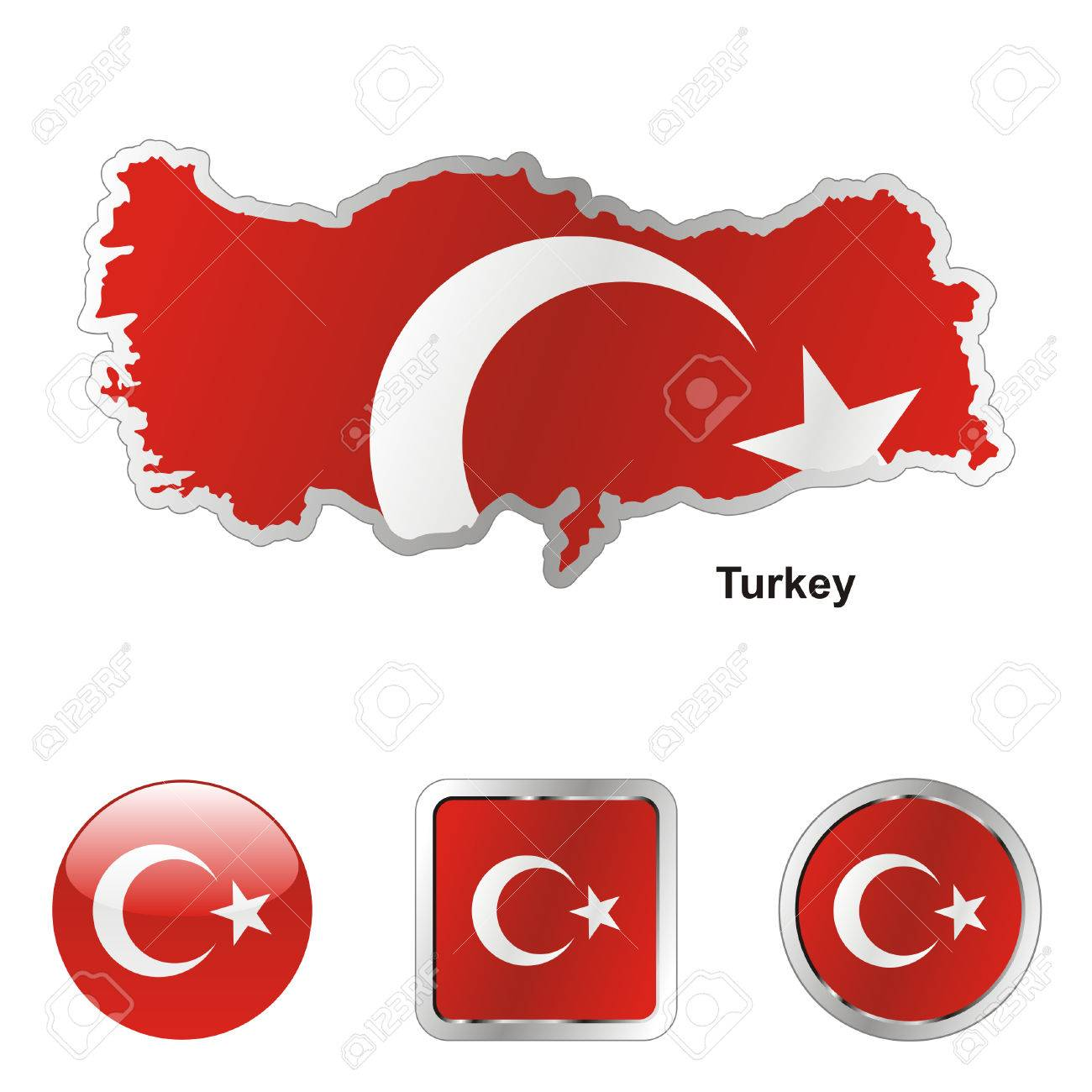 fully editable flag of turkey in map and web buttons shapes Stock Vector - 6255647