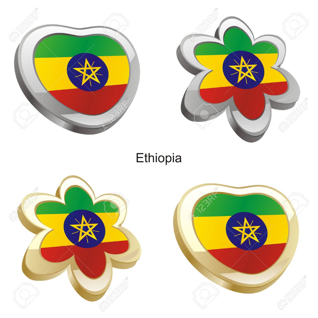 fully editable vector illustration of ethiopia flag in heart and flower shape Stock Vector - 6384699