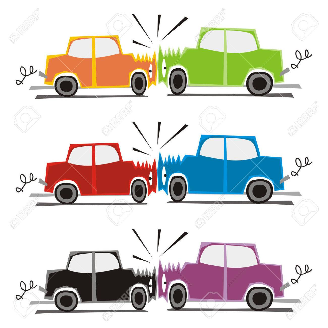 fully editable vector illustration of two cars crash