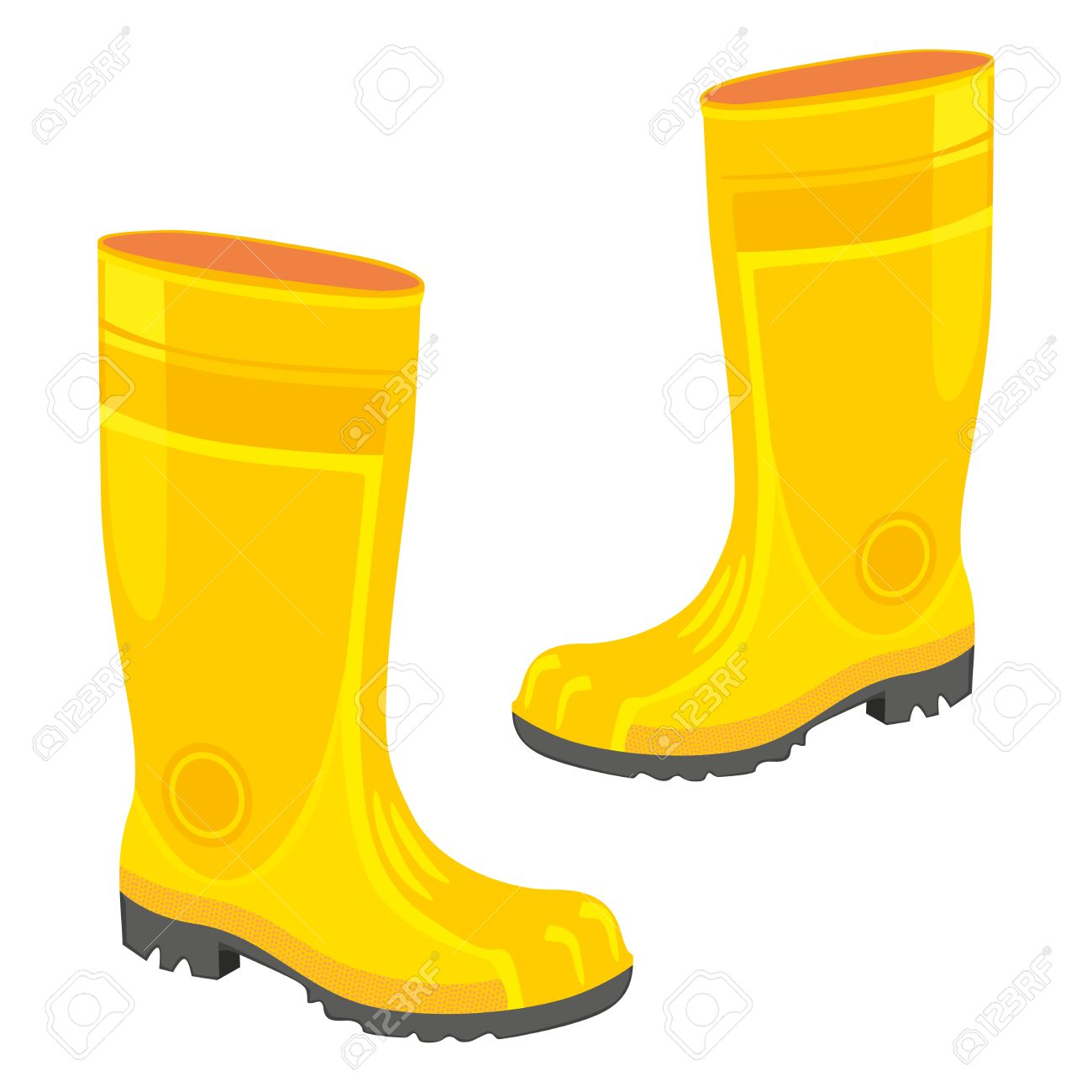 welly: fully editable illustration of isolated rubber boots