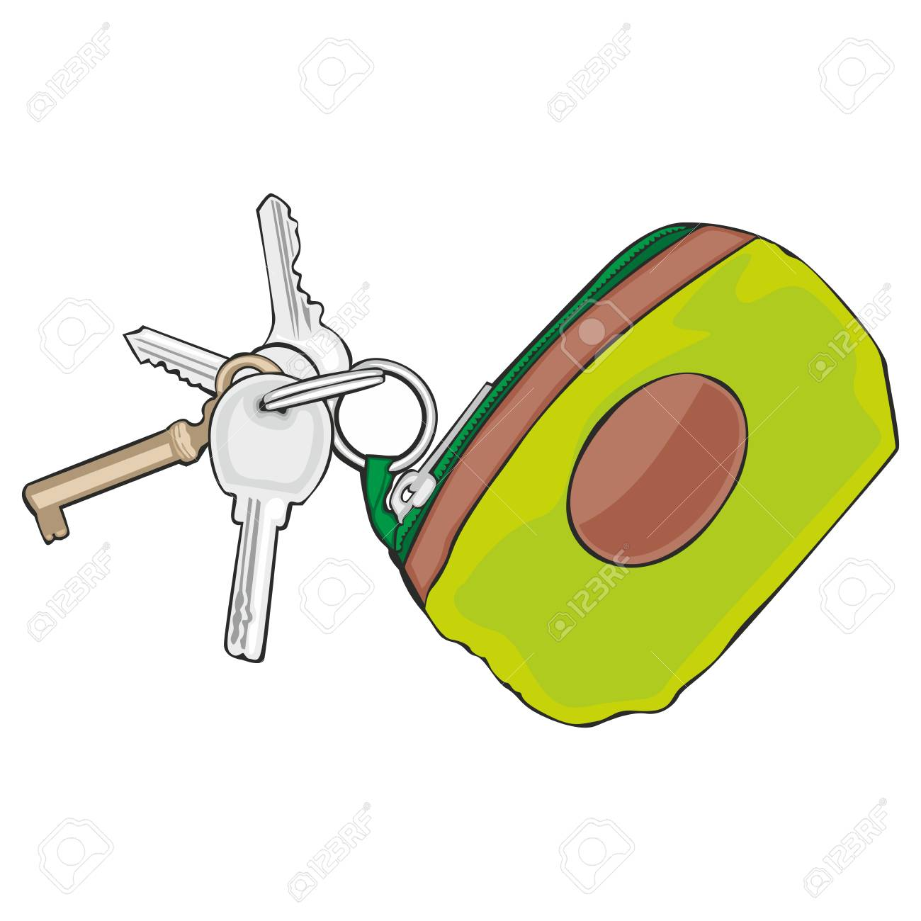 fully editable vector illustration of isolated colored keyholder with keys Stock Vector - 8143230