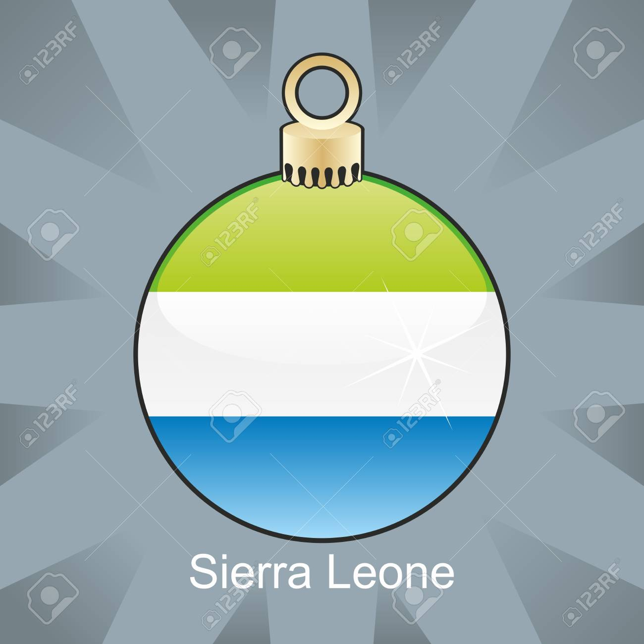 fully editable illustration of isolated sierra leone flag in christmas bulb shape Stock Vector - 8420267