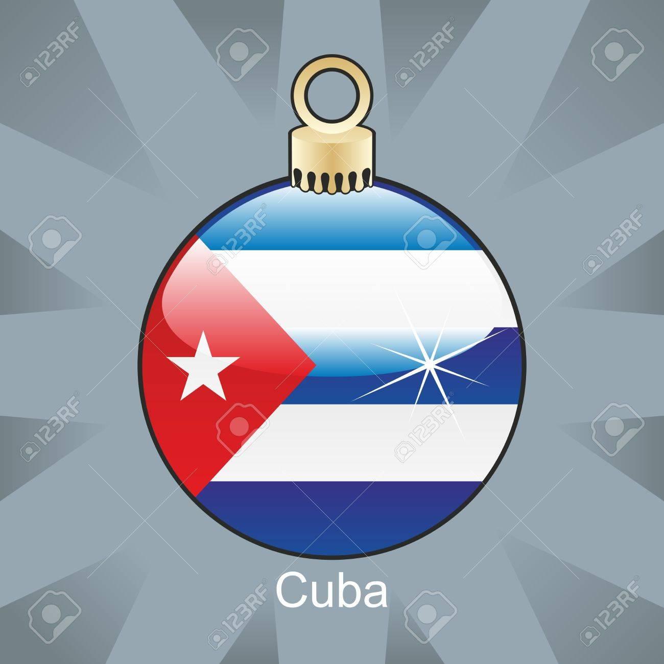 fully editable illustration of isolated cuba flag in christmas bulb shape Stock Vector - 8420275