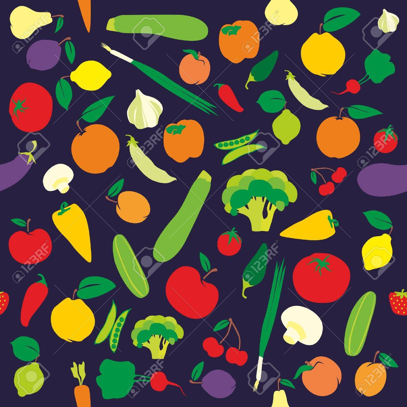 fully editable seamless pattern fruits and vegetables Stock Vector - 8473254