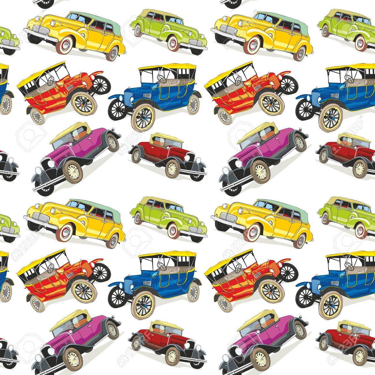 fully editable illustration seamless pattern vintage cars