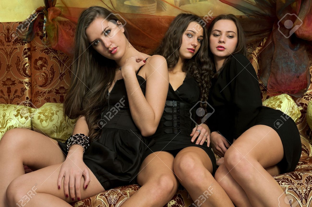 Group of models in a black dresses Stock Photo - 8103317