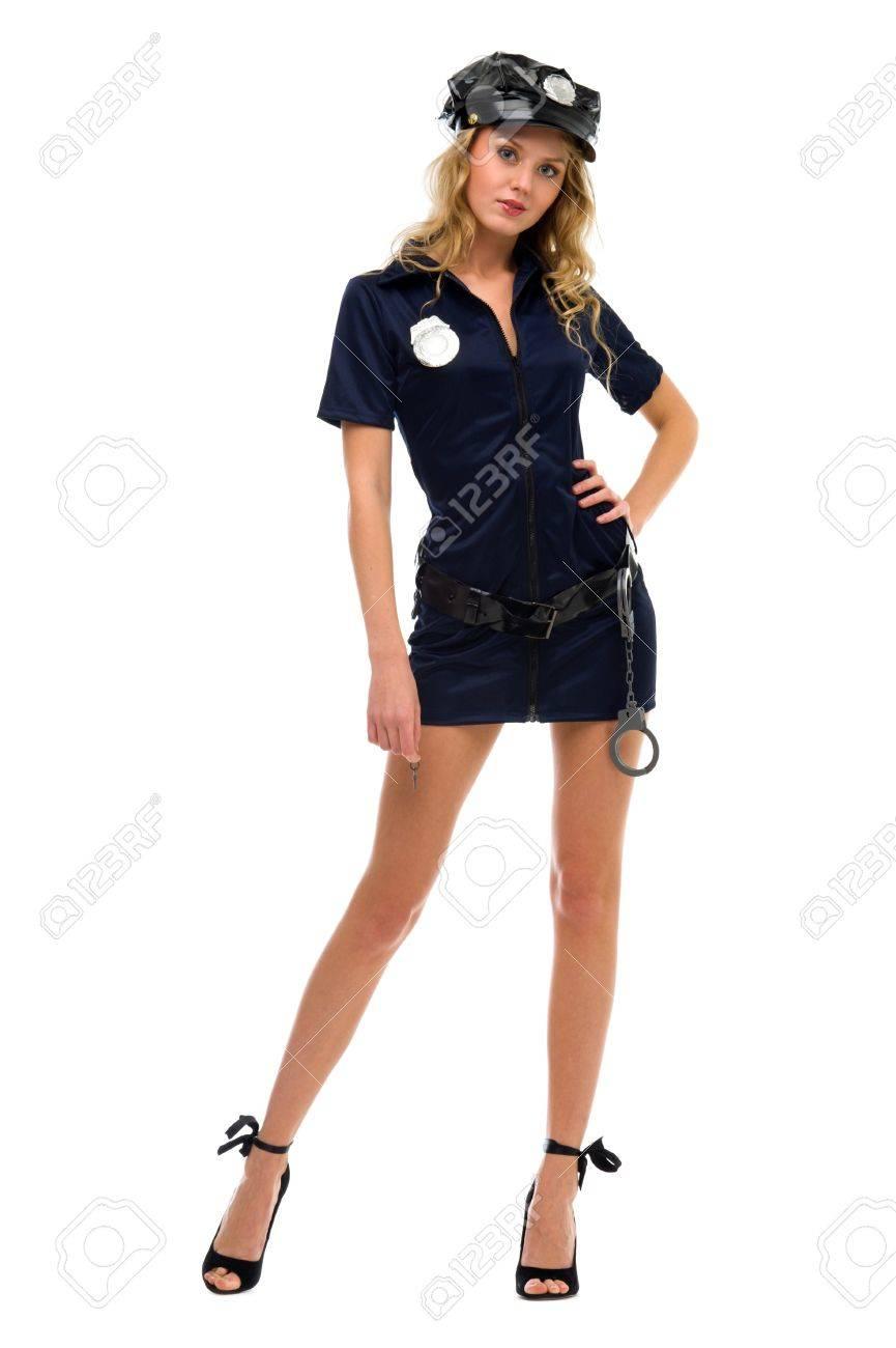 Halloween Kostuum Vrouw.Vrouw In Fansy Kostuum Police Woman Vorm Halloween En Kerstmis Zin In Thema Gea Soleerd Beeld