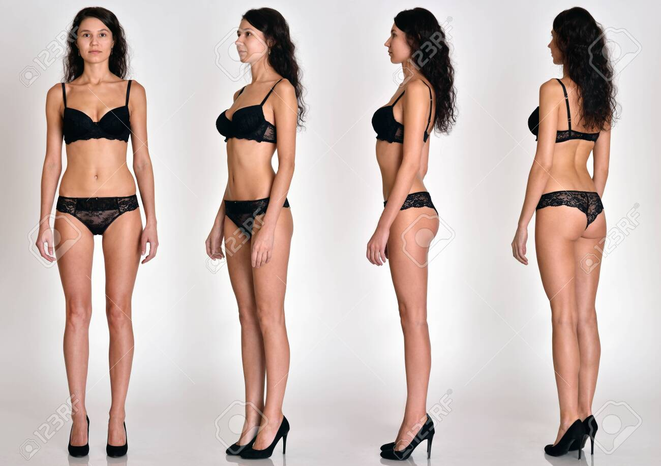 Many women figures full lengh from all angles in black underwear in studio with grey background. Not object. - 128760061