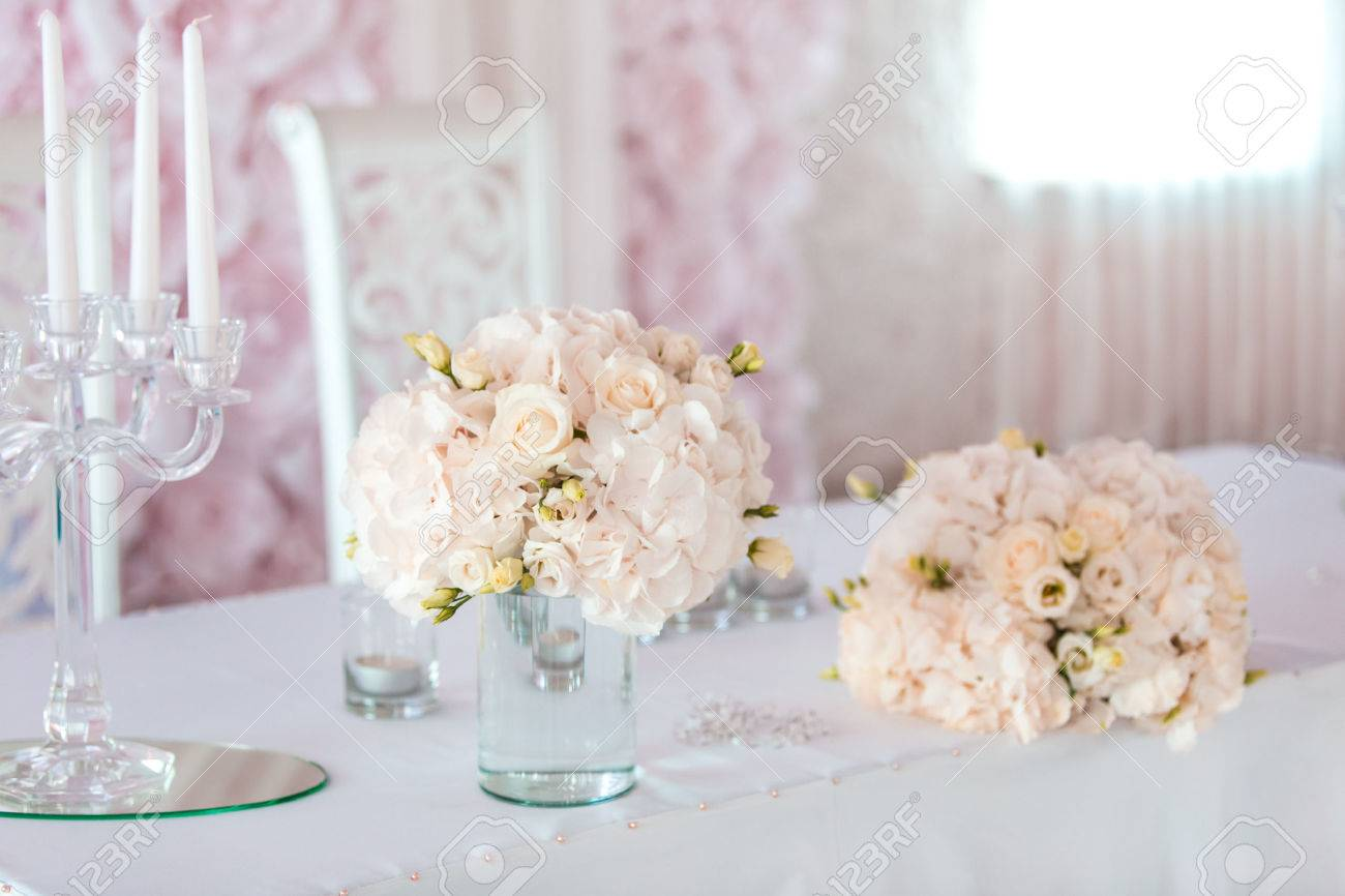 Luxury Wedding Flower Arrangement With Candle Stock Photo, Picture ...