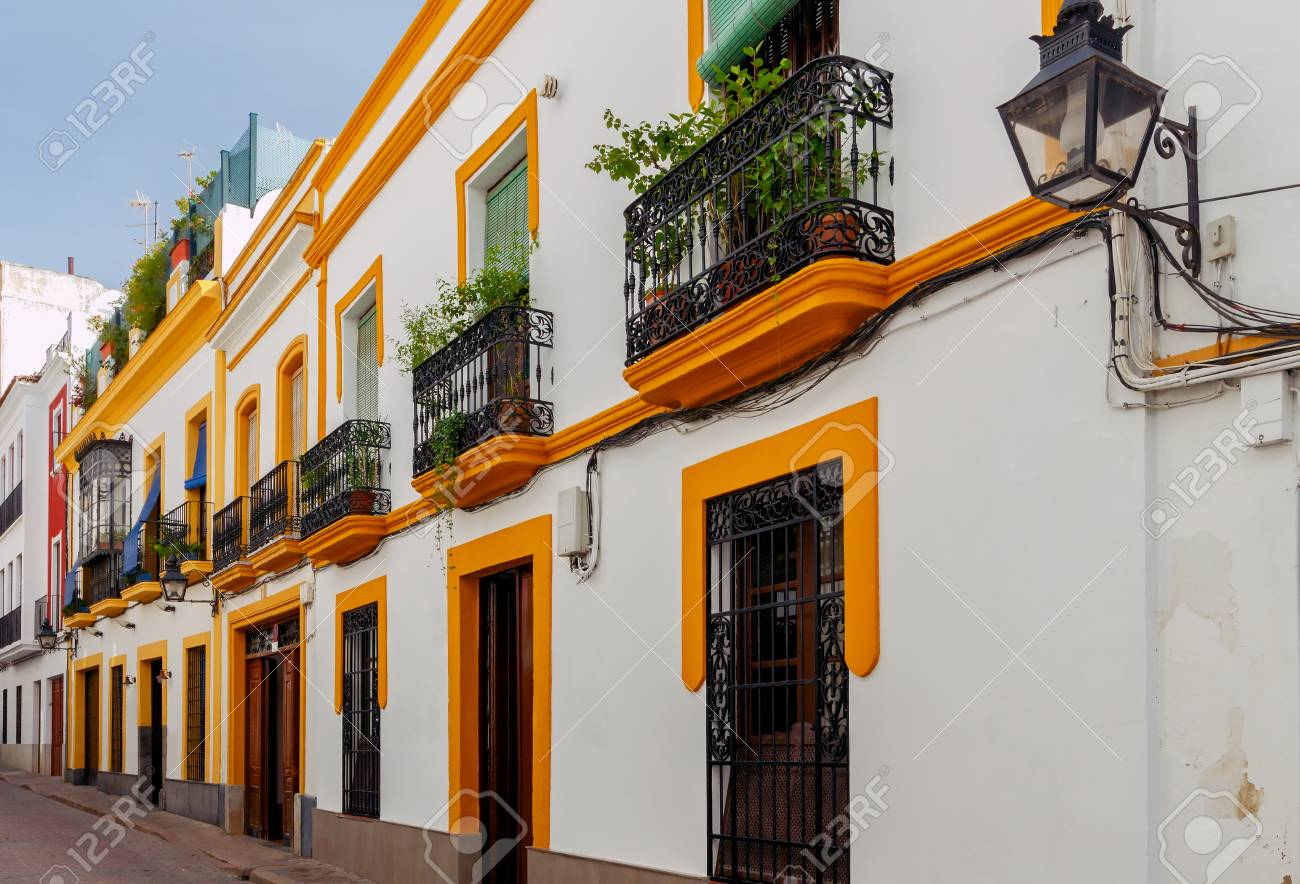 Narrow Street With Traditional Spanish Architecture In Cordoba Spain Andalusia Stock Photo