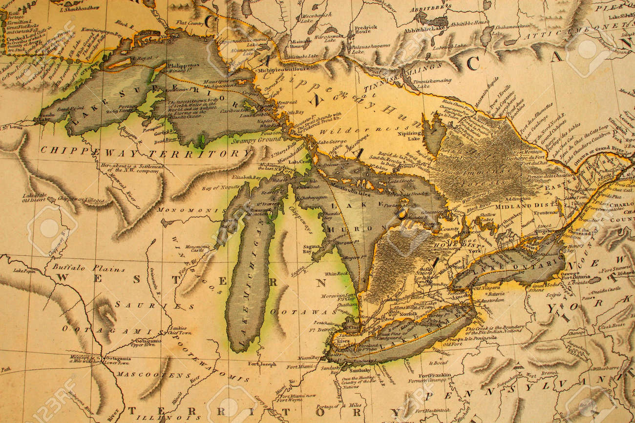 Early Map Of The Great Lakes Printed In Bordeaux France 1795