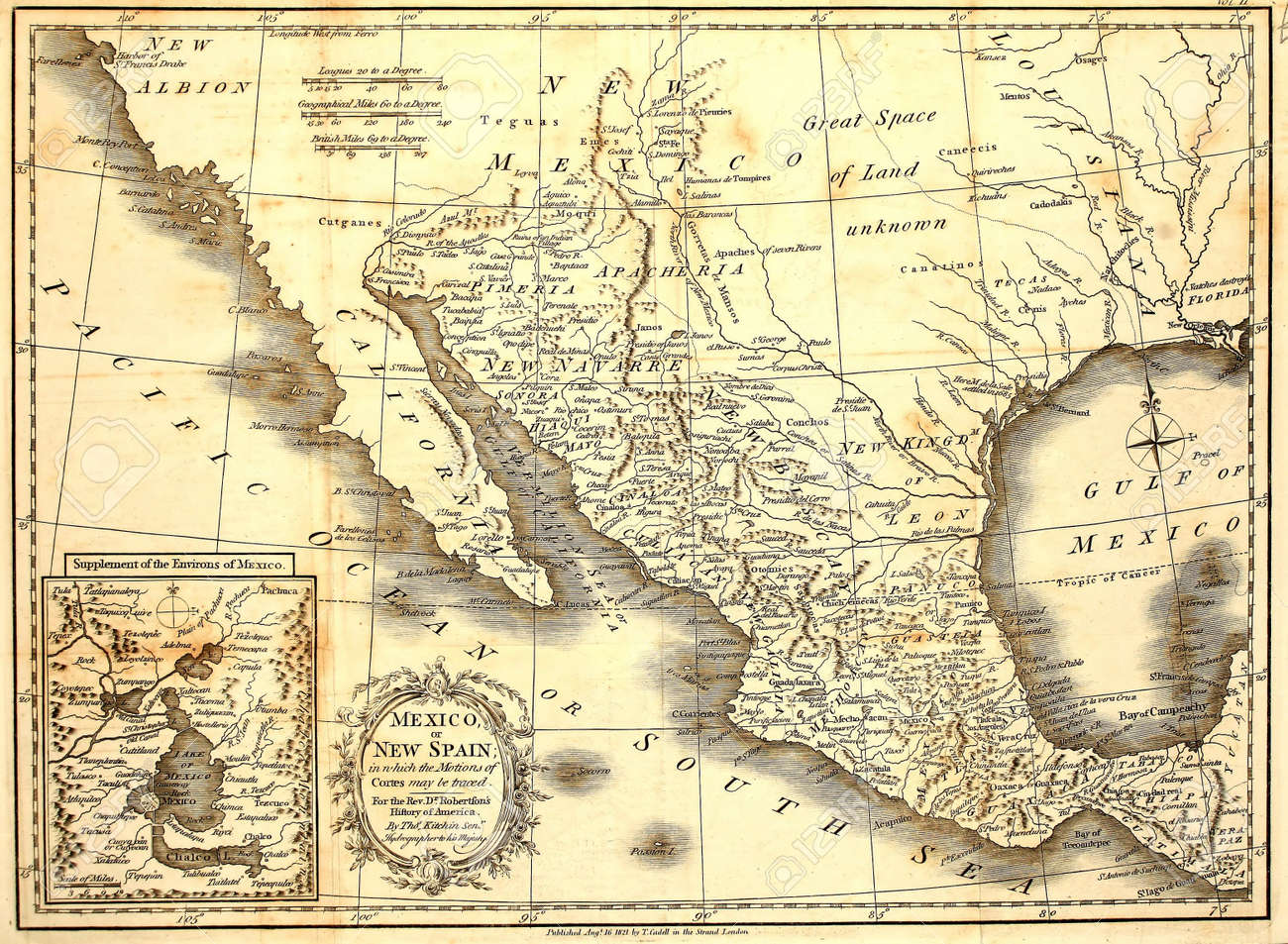 antique map of mexico printed in london 1821 stock photo picture