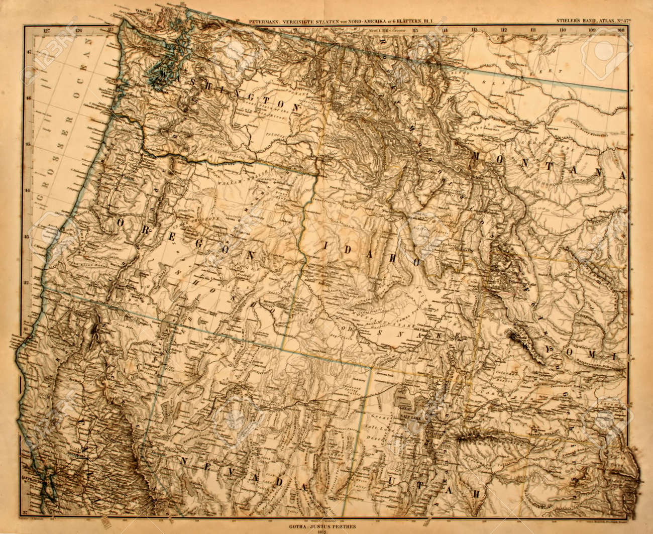 Antique Map Of America\'s Pacific Northwest Printed In 1875. Stock ...