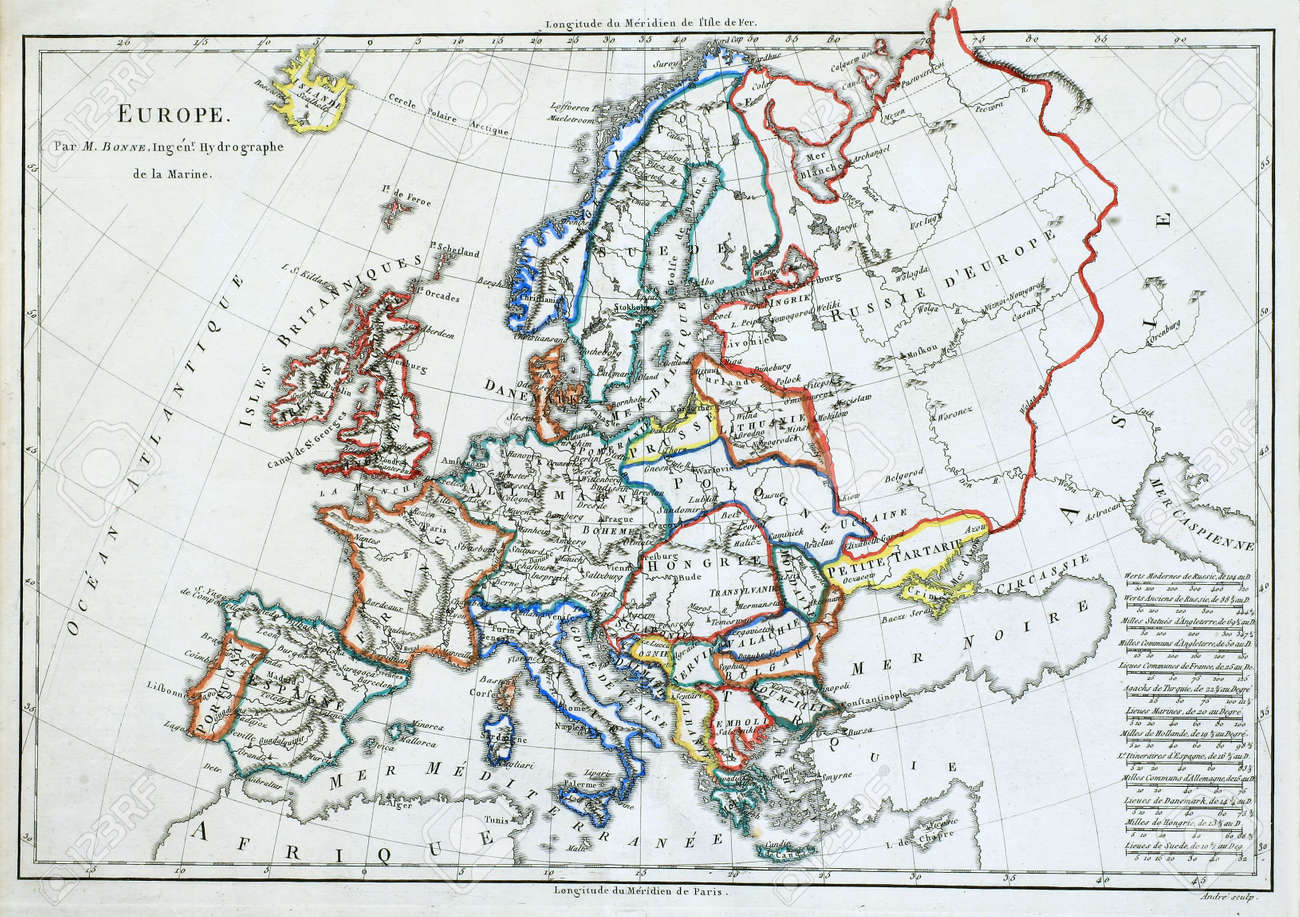 original line colored map of europe printed in france in 1785