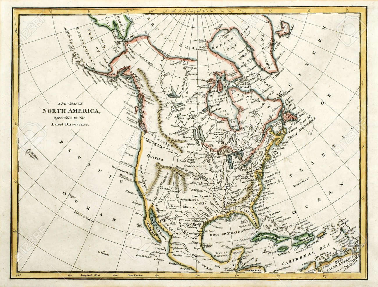 Early Colored Map Of North America, Printed In England And Dated ...