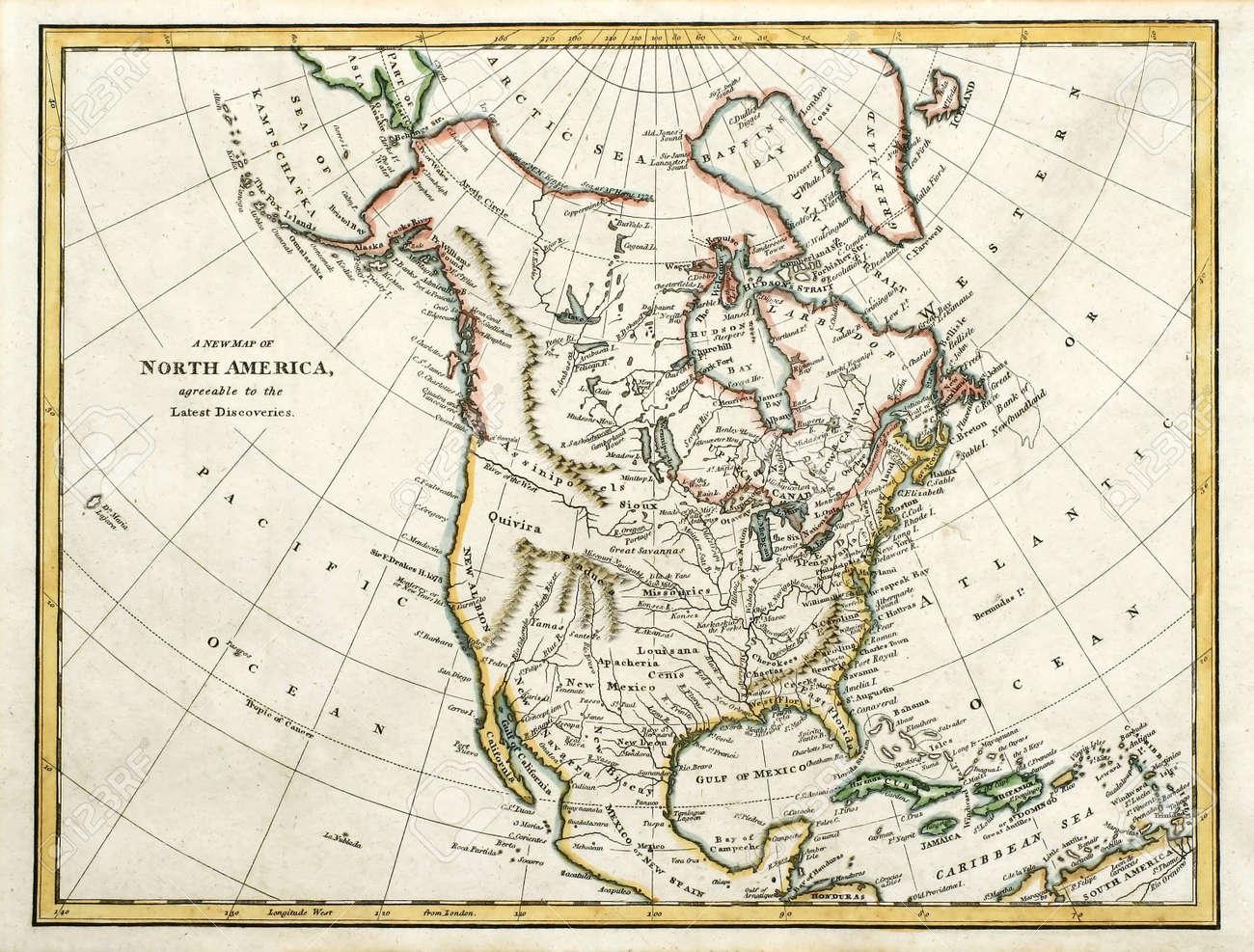 Principio Mapa Coloreado De América Del Norte, Impreso En Inglaterra ...