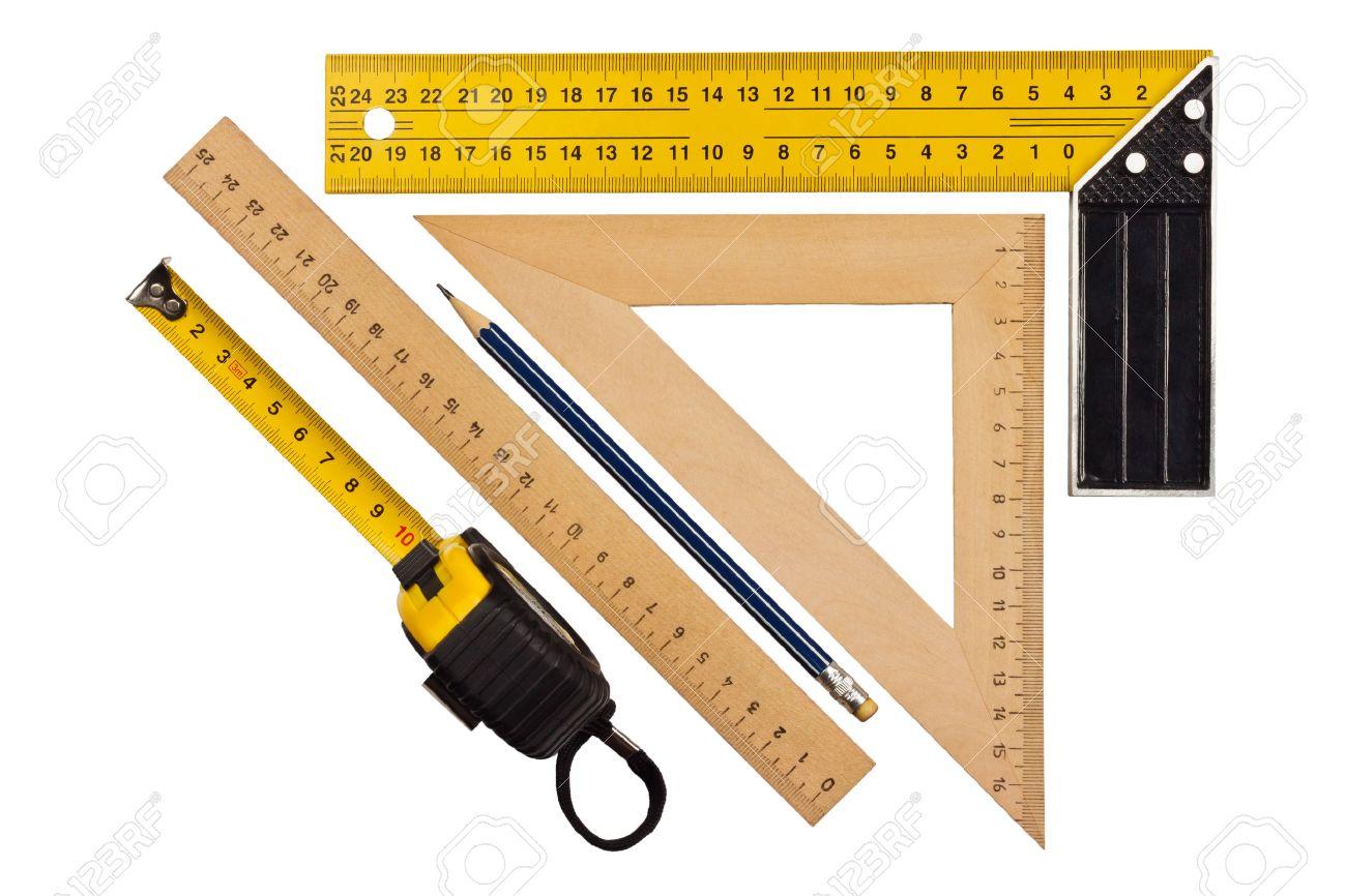 metallic-werkzeug, um im rechten winkel, dreieck und holz lineal