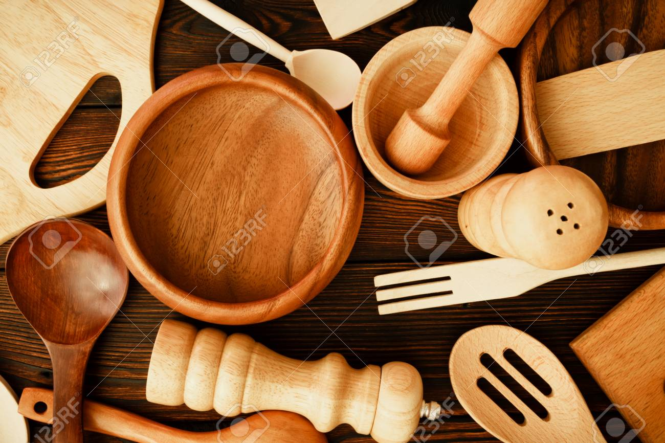 Still Life From Home Kitchen Utensils On A Dark Wooden Background. View  From Above Stock
