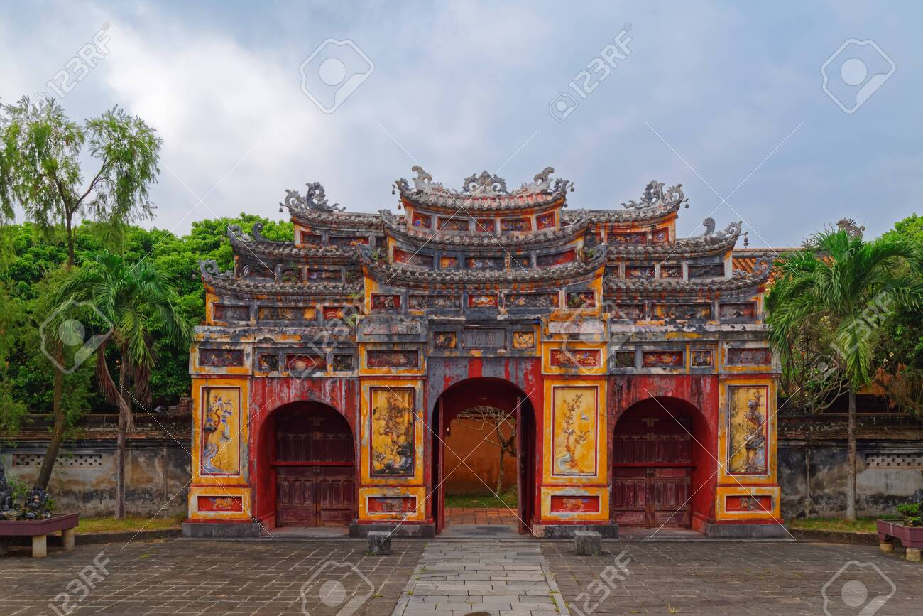 Cua Tho Chi Gate In Purple Forbidden City Imperial Citadel Stock Photo Picture And Royalty Free Image Image 131588193
