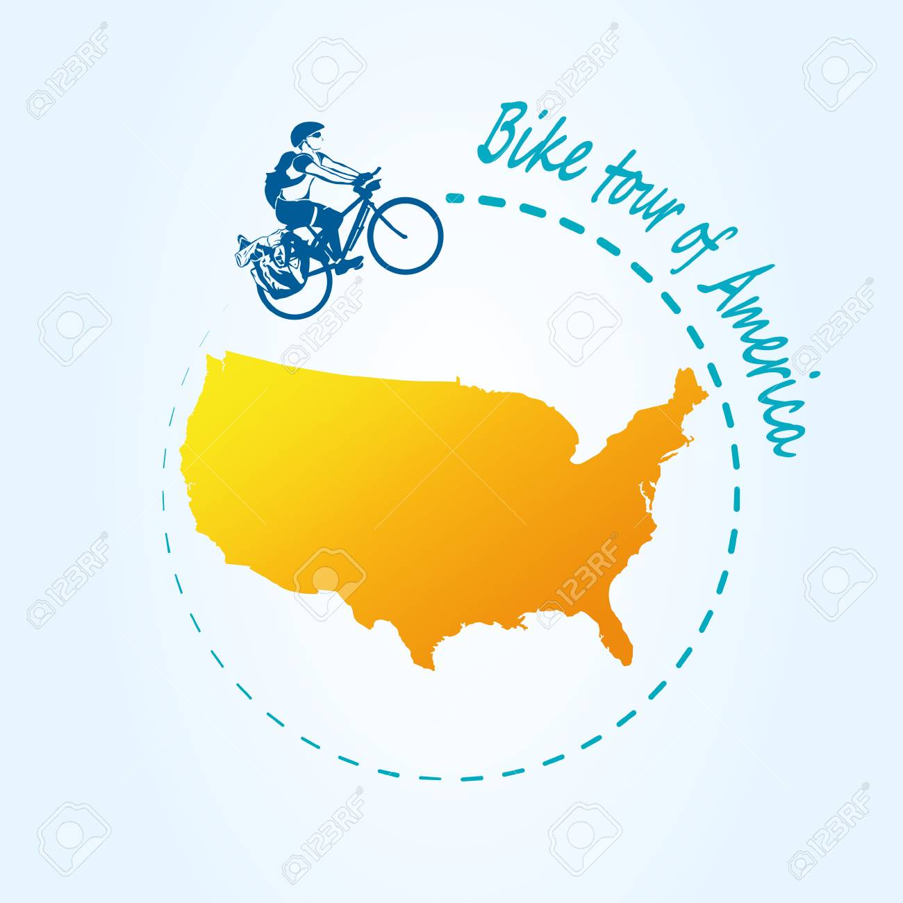 Man In The United States Map.Man Riding Bicycle Around Of The United States Of America Travel