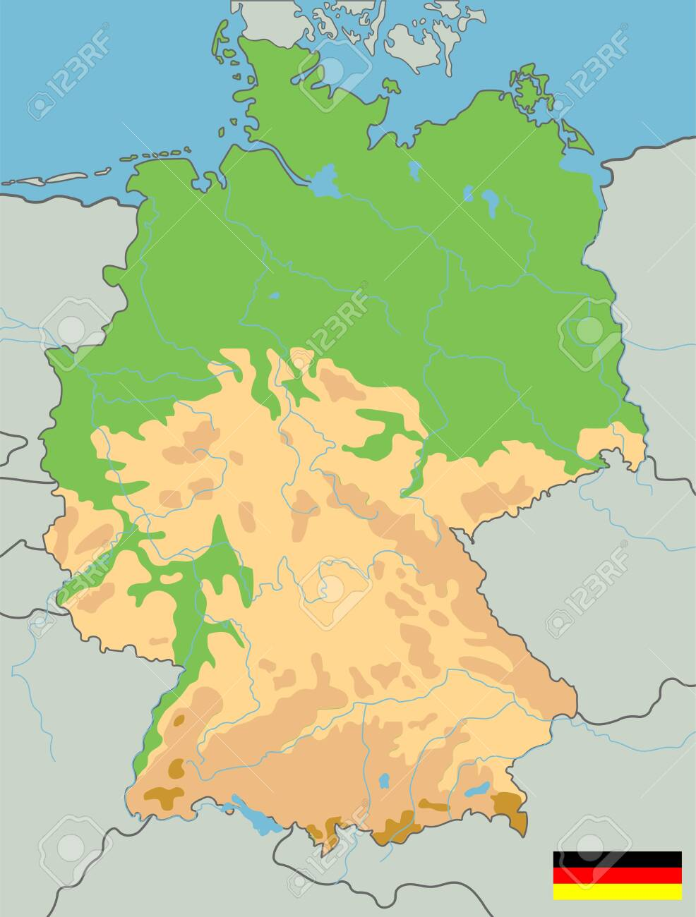 Map Of Germany Mountains.Large Detailed Topographic Map Of Germany With Contours Lakes