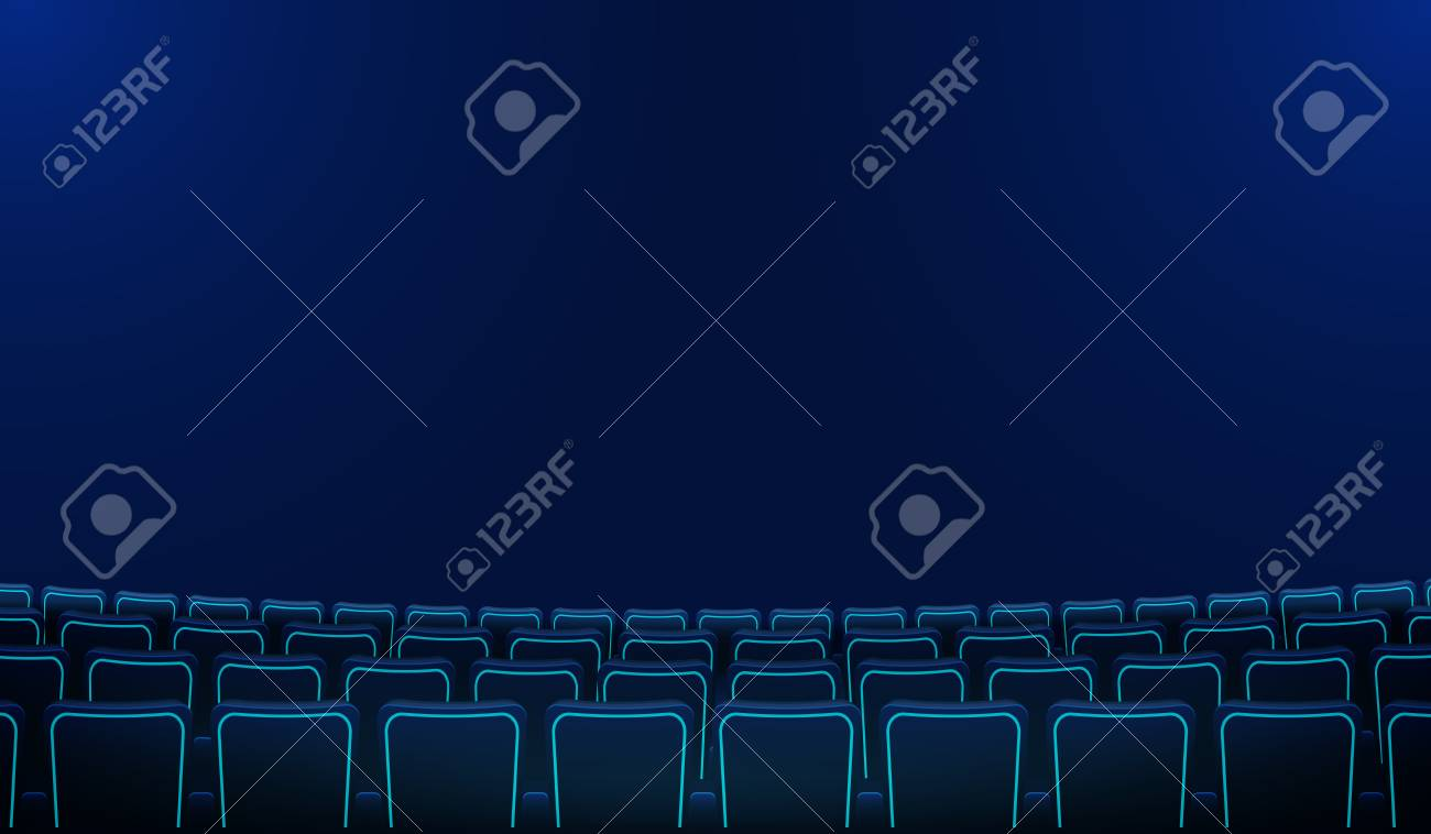 Realistic Rows Of Blue Chairs Cinema Or Movie Theater Seats In Royalty Free Cliparts Vectors And Stock Illustration Image 124996087