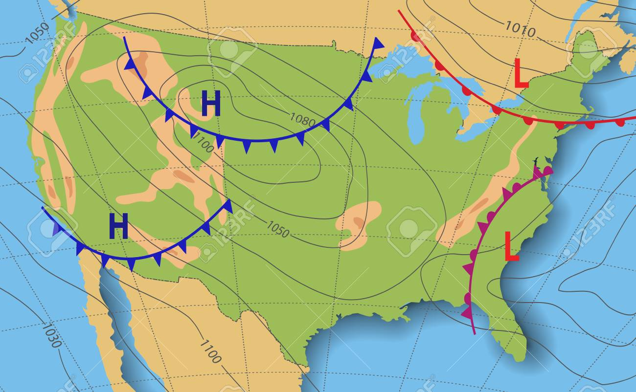 Us Weather Map Fronts Weather Forecast. Meteorological Weather Map Of The United State