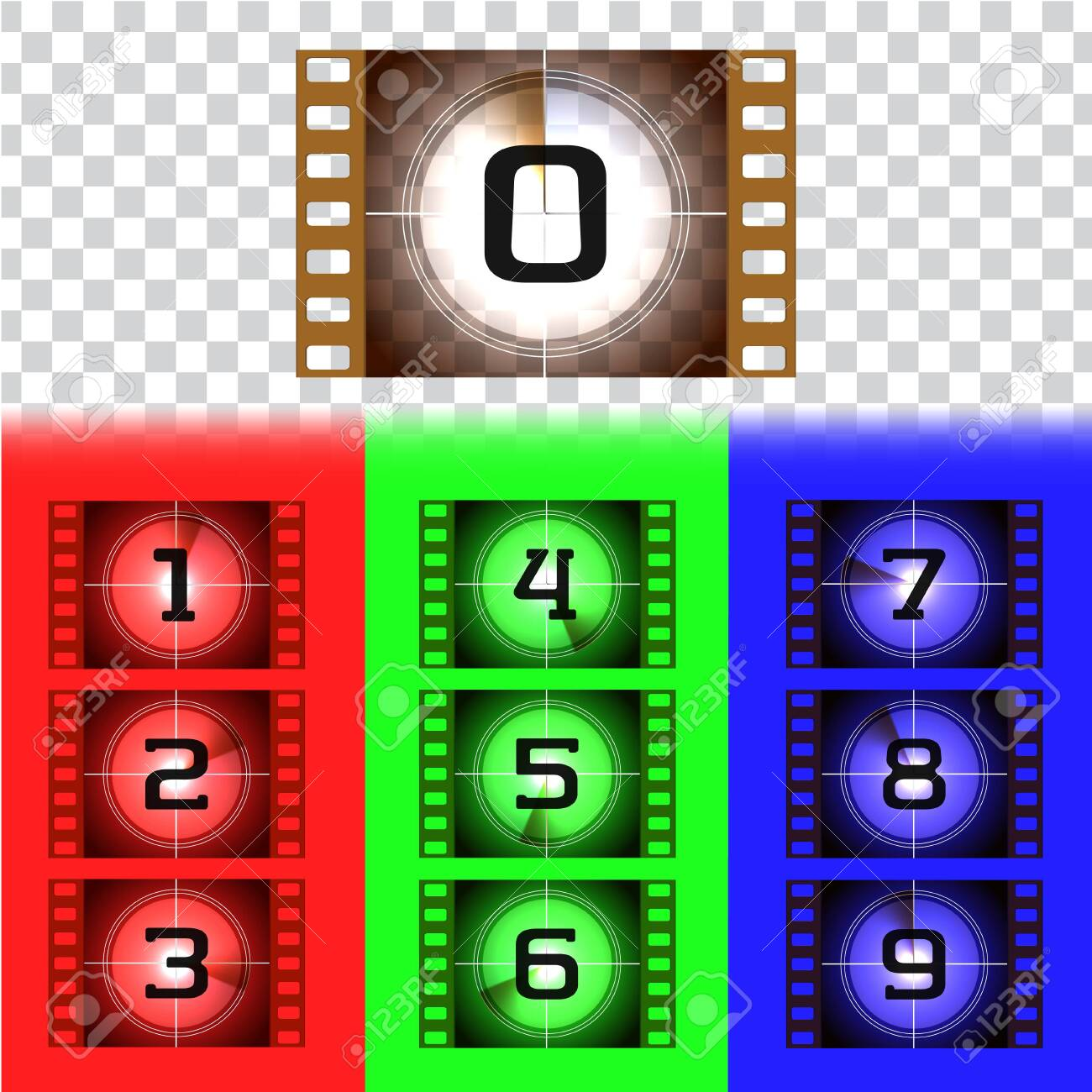 Creative frames countdown to the start numbers. Old film movie timer count. Retro cinema filmstrip count down slides with circle sections timer isolated on grunge background. Colorful vector set. - 124074745