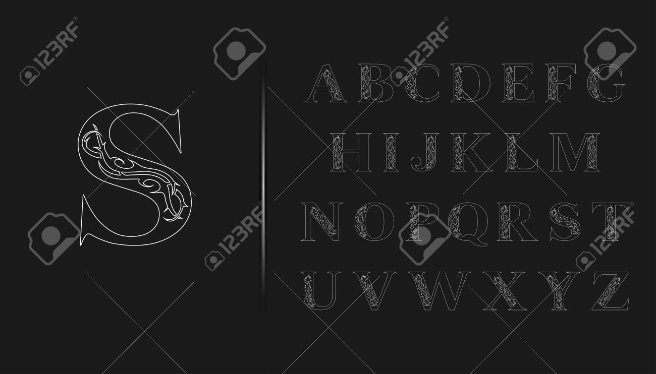 Elegant Gothic Font Set Capital Letters With Tattoo Element Royalty Free Cliparts Vectors And Stock Illustration Image 129729844