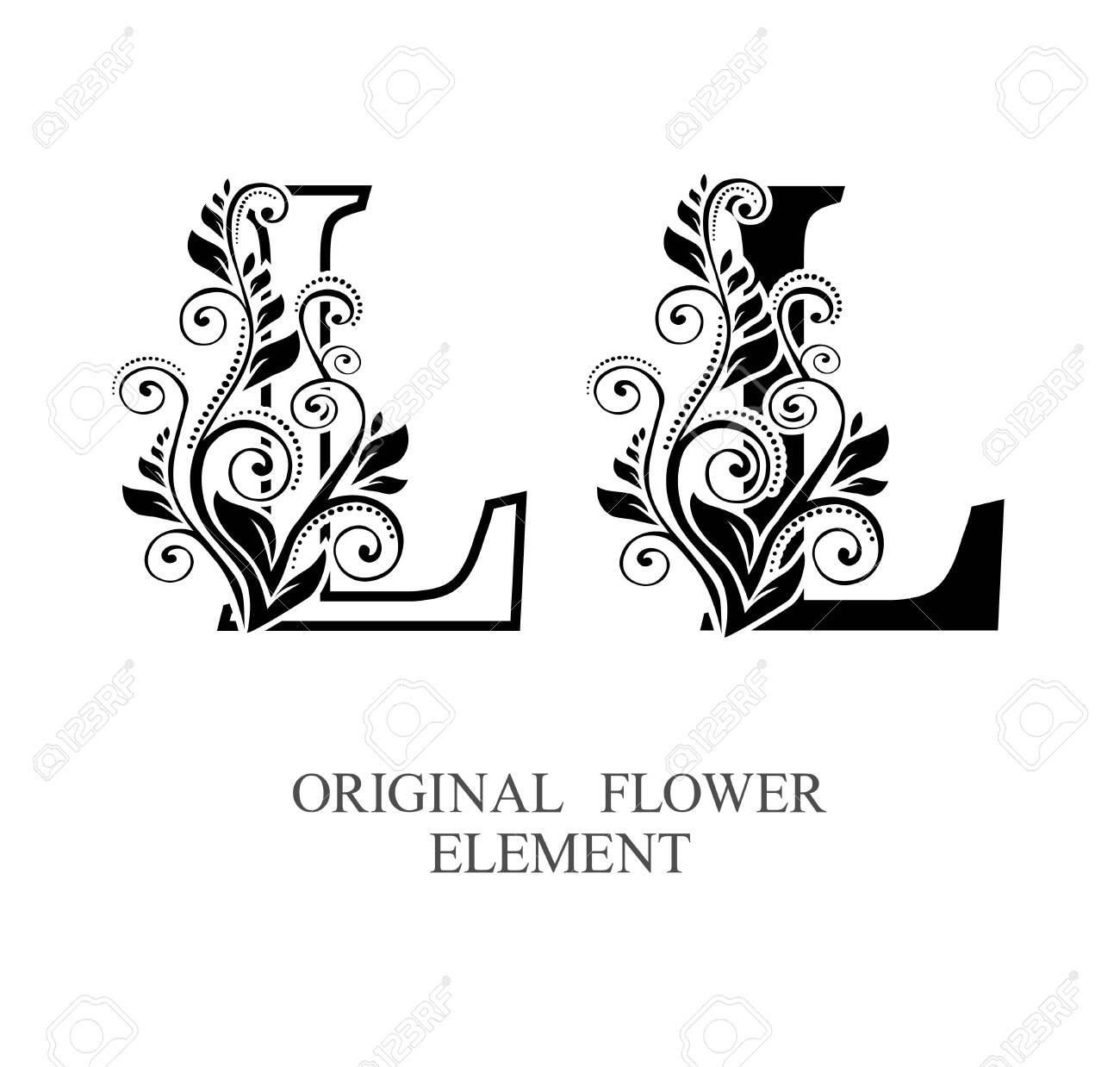 Elegant initial letters L in two color variations with botanical element. Vector letters logo design template set. Alphabet label sign for company branding and identity.Unique concept type as logotype - 129729865